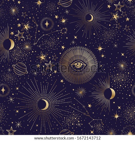 Seamless vector sky night pattern with stars, sun, moon, constellation, planet and eyes. Wallpaper, background, cloth design template, fabric, tissue, cotton, cover, textile, yoga mat, phone case
