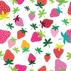 Seamless vector strawberry pattern. Berry isolated on white background.