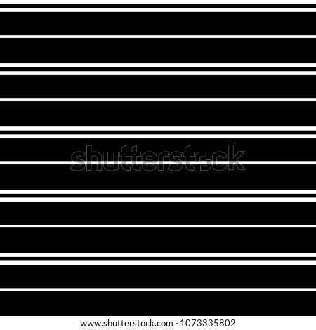 Seamless vector stripe pattern with colored horizontal parallel stripes in white with a black background. Texture background. Surface pattern design.