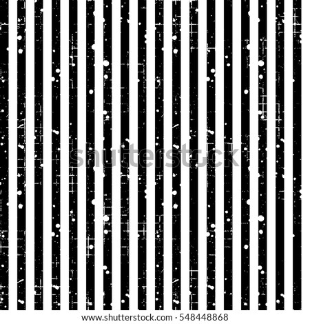Seamless vector striped pattern. Black, white geometric background with vertical lines. Grunge texture with attrition, cracks and ambrosia. Old style vintage design. Graphic illustration..