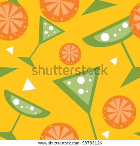 Seamless vector Summer Drinks Cocktail glasses and Lemon background - stock vector