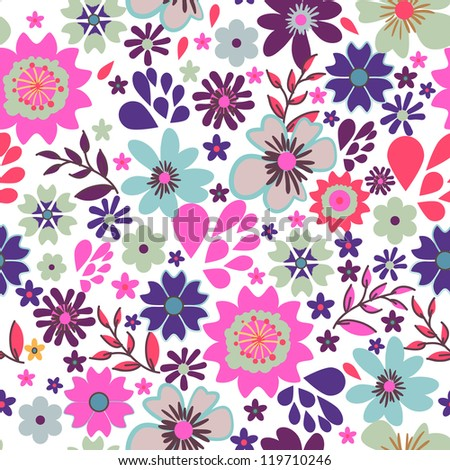 Seamless vector texture with small bright flowers - stock vector