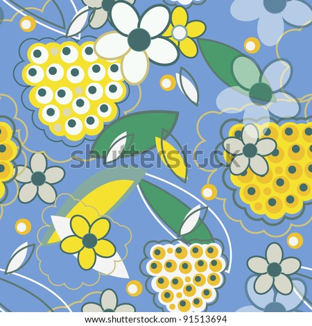 Seamless vector texture with yellow berries over blue