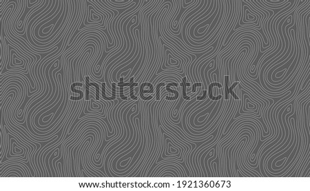 Seamless vector topographic map background white on dark. Line topography map seamless pattern. Mountain hiking trail over terrain. Contour background geographic grid. Photo stock ©