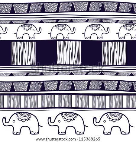 Seamless vector tribal texture with elephants