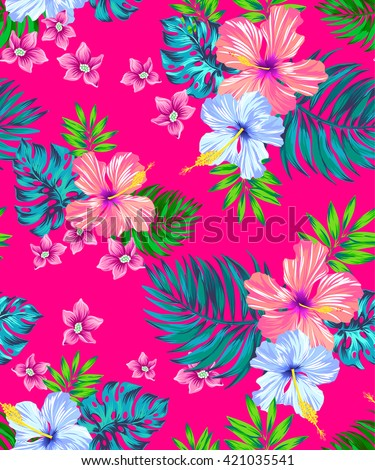 seamless vector tropical design with hibiscus, frangipani, monstera, palm leaf, palmetto. Exotic flowers and leaves in allover composition. colorful pattern for summer fashion, interior, wallpaper