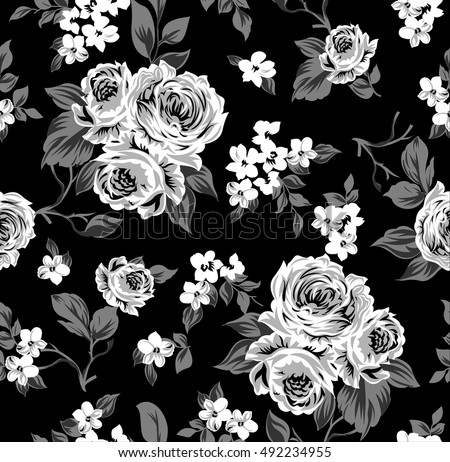 Seamless Vector Vintage Pattern With Victorian Bouquet Of White Flowers On A Black Background