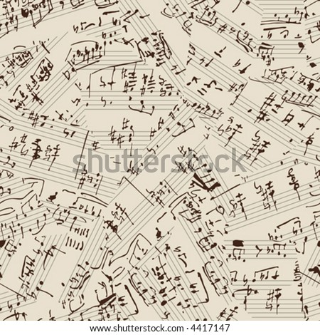 Seamless vector wallpaper. Music manuscript. Torn #4417147