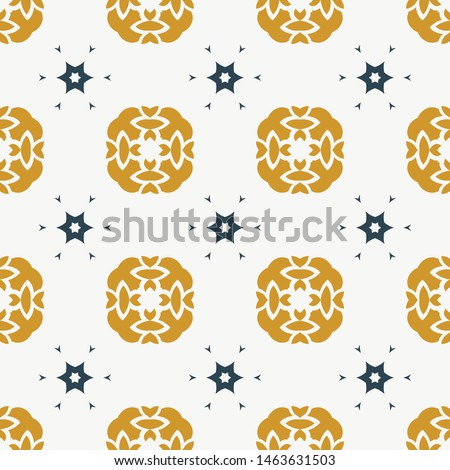 Seamless vector white background. Gold and navy blue decorative floral decorative ornament