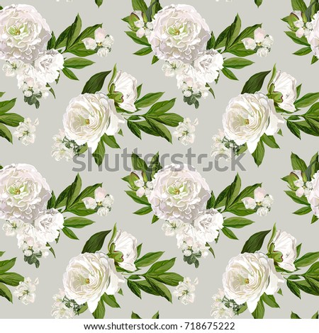 seamless vector white peonies