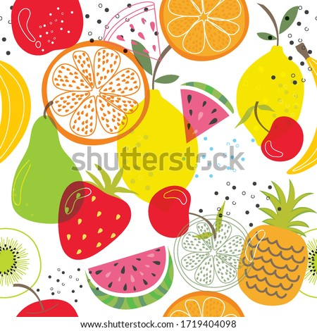 Seamless vector with fruits on white background