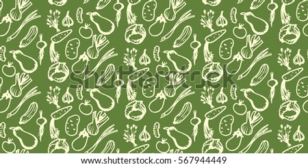 Seamless vegetable organic farm healthy food assortment pattern green background