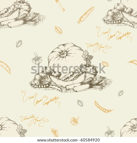 Seamless vegetables background- drawing