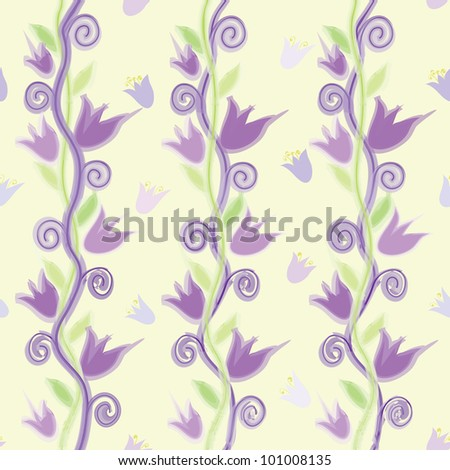 Seamless vertical grunge floral pattern with abstract bells in watercolor design