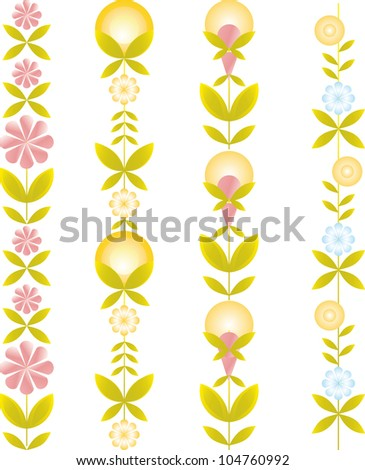 seamless vertical pattern of the natural elements of the colors of the leaves