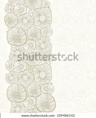 seamless vertical pattern with brown flowers