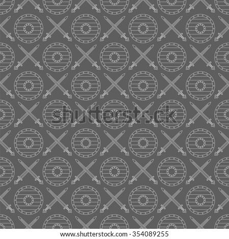 seamless viking pattern number