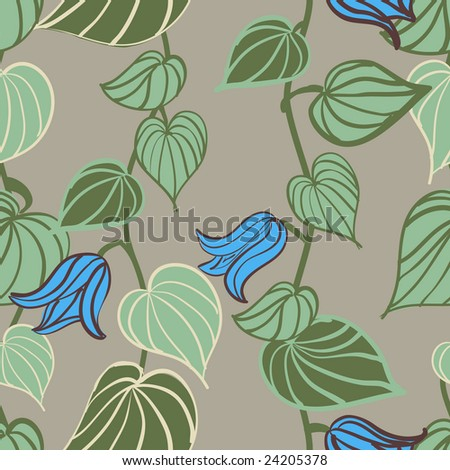 Seamless Vine Leaf And Flowers Pattern Stock Vector 24205378