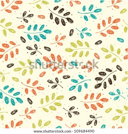 Seamless vintage autumn pattern with branches and leaves