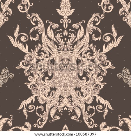 Seamless vintage background brown baroque pattern