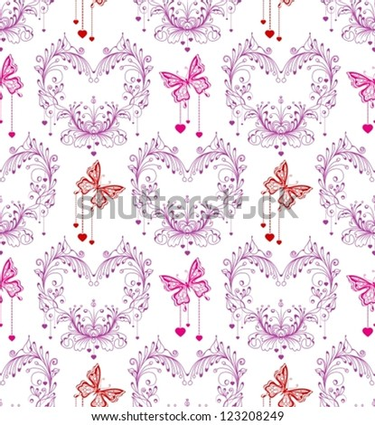 Seamless vintage background with floral ornament and butterfly, vector