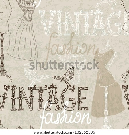 Seamless Vintage background with retro dummy for design, vector