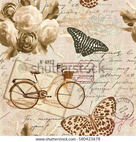 Seamless vintage background with roses, butterfly and bicycle.