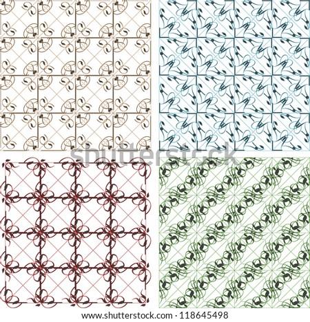 seamless vintage backgrounds set brown baroque Pattern. Vector set