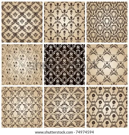 seamless vintage backgrounds set brown baroque wallpaper. Vector set