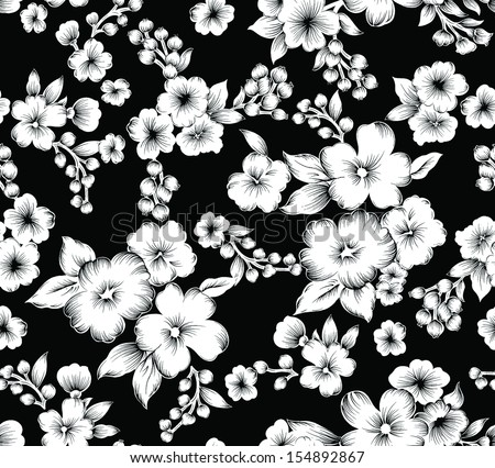 Seamless Vintage Black And White Flower.