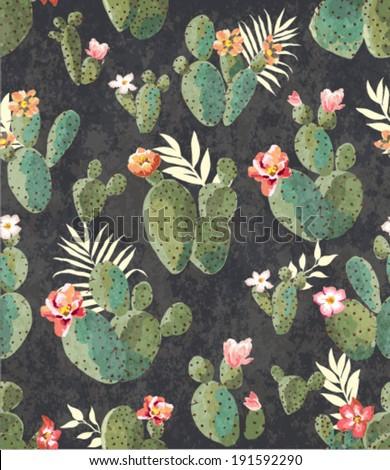 seamless vintage cactus print...