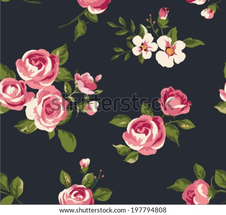 seamless vintage cute flower vector pattern background
