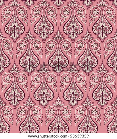 Seamless vintage damask background - stock vector