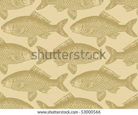 seamless vintage fish pattern, vector