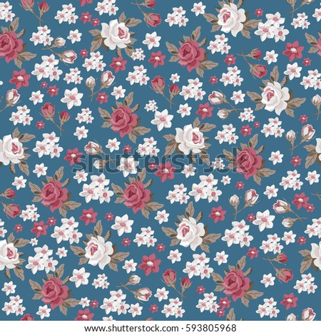 Seamless vintage floral pattern for gift wrap and fabric design.