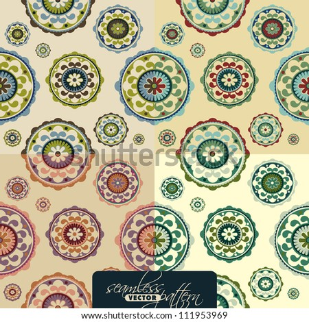 Seamless vintage floral pattern set, vector