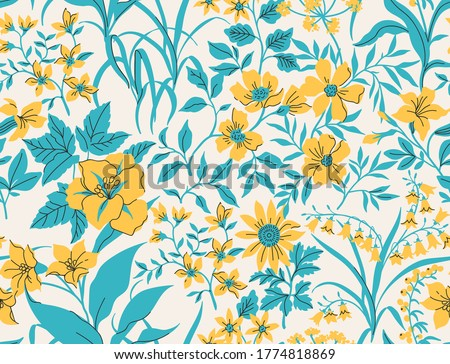 Seamless vintage floral pattern. White background, yellow flowers, blue leaves. Vector print with a liberty motif. Trendy desing for surface.