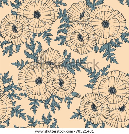Seamless vintage floral pattern with stylized poppy flower