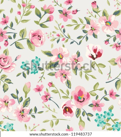 seamless vintage flower garden pattern background
