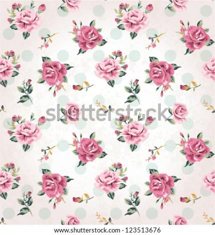 seamless vintage flower pattern grunge background