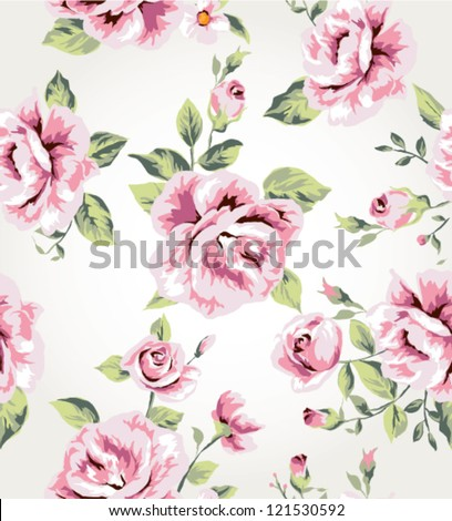 seamless vintage flower pattern vector background