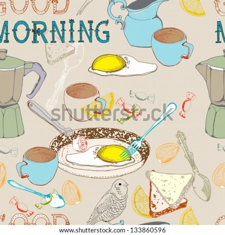Seamless vintage morning breakfast background.vector Illustration for design