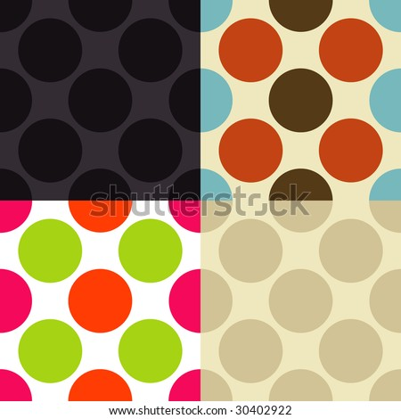 Seamless vintage pattern in different color sets.