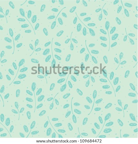 Seamless vintage pattern with branches and leaves. Retro texture