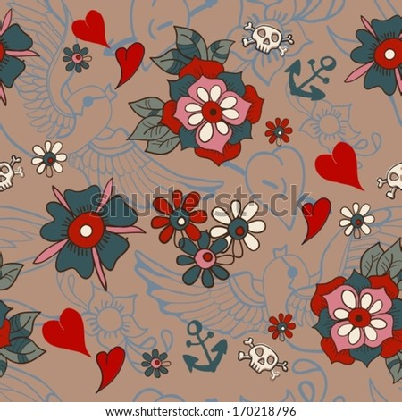 Seamless Vintage pattern with flowers for Valentine design, old school tattoo style, VECTOR