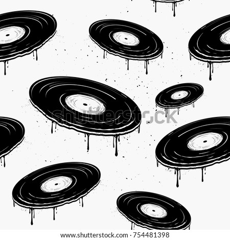 Seamless vintage pattern with flying melted vinyl records. Template for flyer, banner, music background, poster, concert or bar decoration, business or art works.