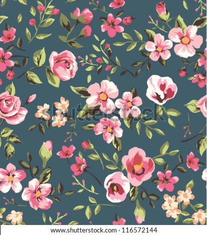 seamless vintage  pink flower pattern on brown background