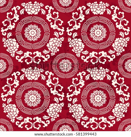 seamless vintage red chinese