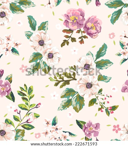 seamless vintage romantic flower vector pattern