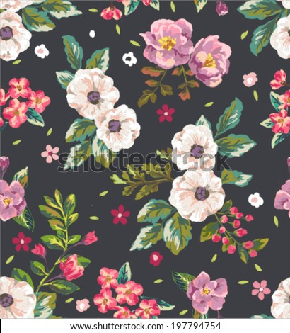 seamless vintage romantic flower vector pattern background